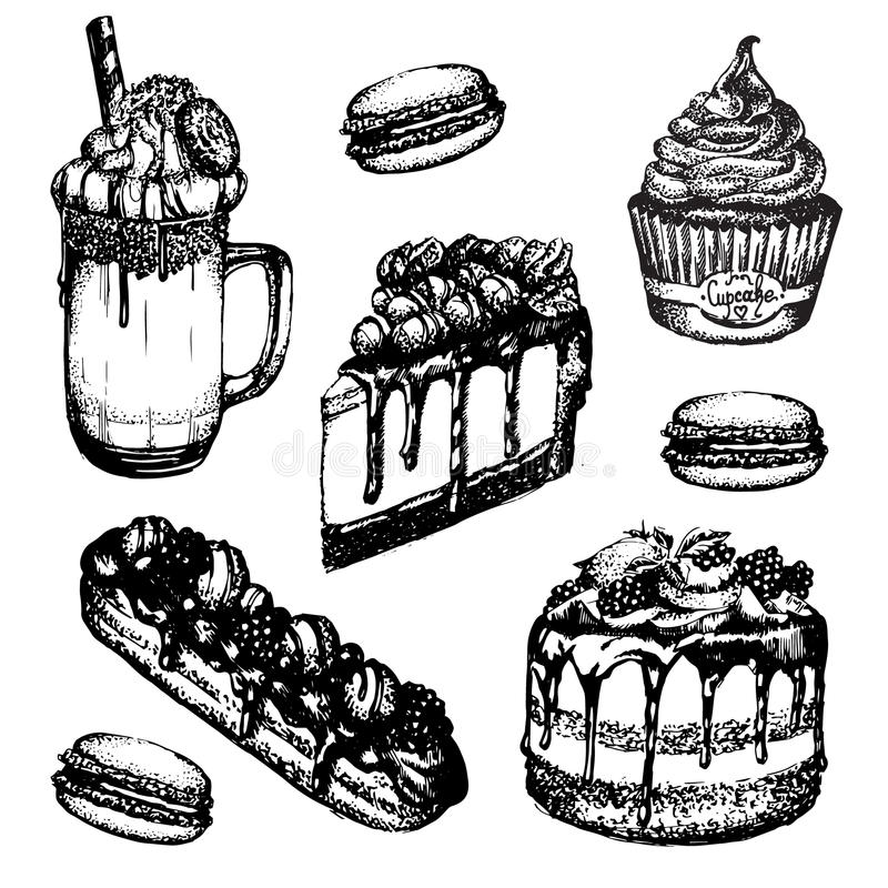 Η διανυσματική απεικόνιση του ino frappucÑ  με την κτυπημένα κρέμα και το μπισκότο έκανε το διαθέσιμο συρμένο ύφος σκίτσων ελεύθερη απεικόνιση δικαιώματος