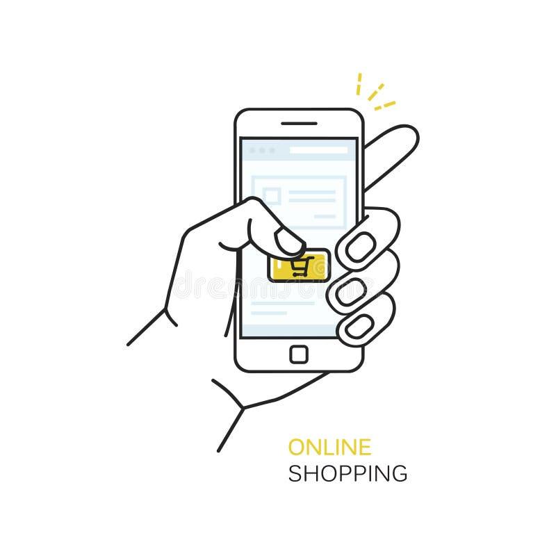 Η διανυσματική απεικόνιση ύφους γραμμών με το χέρι που κρατούν το κινητό τηλέφωνο και το δάχτυλο σχετικά με αγοράζουν το κουμπί - ελεύθερη απεικόνιση δικαιώματος