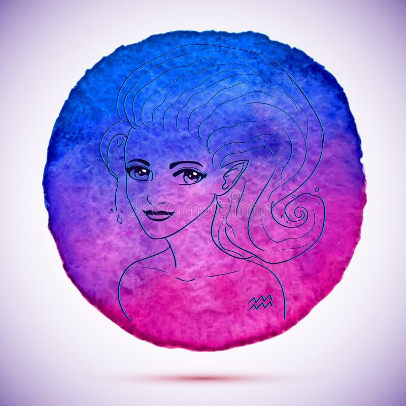 Η διανυσματική απεικόνιση watercolor και σκίτσων της όμορφης γυναίκας zodiac Υδροχόου υπογράφει με το υπόβαθρο watercolor ελεύθερη απεικόνιση δικαιώματος