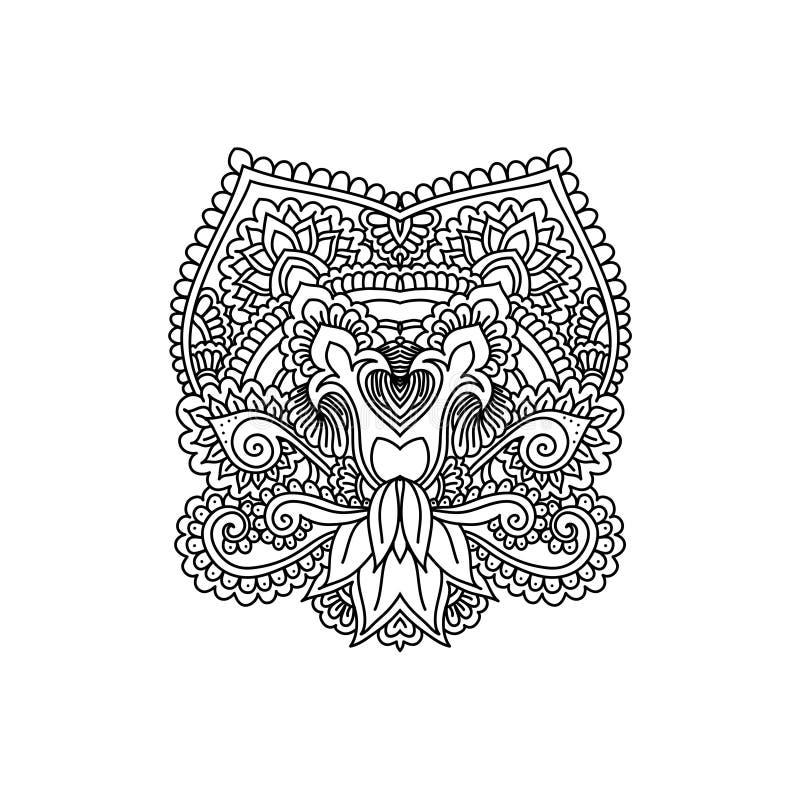Η διανυσματική ασιατική διακόσμηση, εθνική henna η δερματοστιξία, διαμορφωμένο ινδικό Paisley για τις ενήλικες χρωματίζοντας σελί ελεύθερη απεικόνιση δικαιώματος