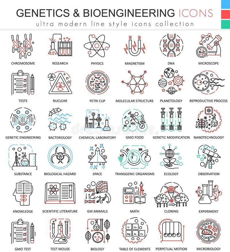 Η διανυσματική επίπεδη γραμμή χρώματος γενετικής και βιοχημείας περιγράφει τα εικονίδια για τα apps και το σχέδιο Ιστού Χημική ου ελεύθερη απεικόνιση δικαιώματος