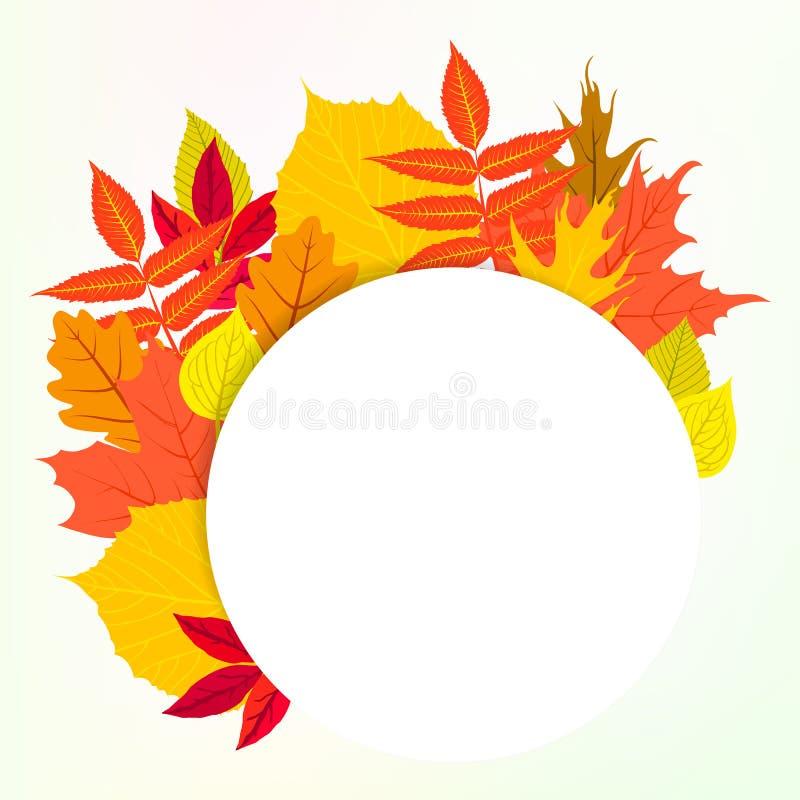 Η διανυσματική κάρτα με το ντεκόρ φθινοπώρου και βγάζει φύλλα διανυσματική απεικόνιση
