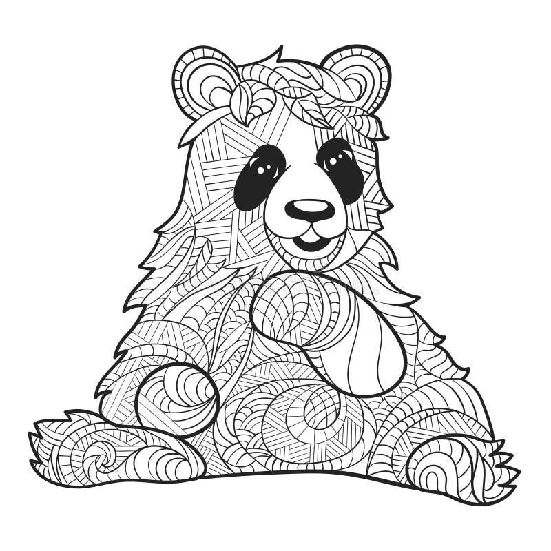 Η διανυσματική μονοχρωματική συρμένη χέρι zentagle απεικόνιση του panda αντέχει διανυσματική απεικόνιση