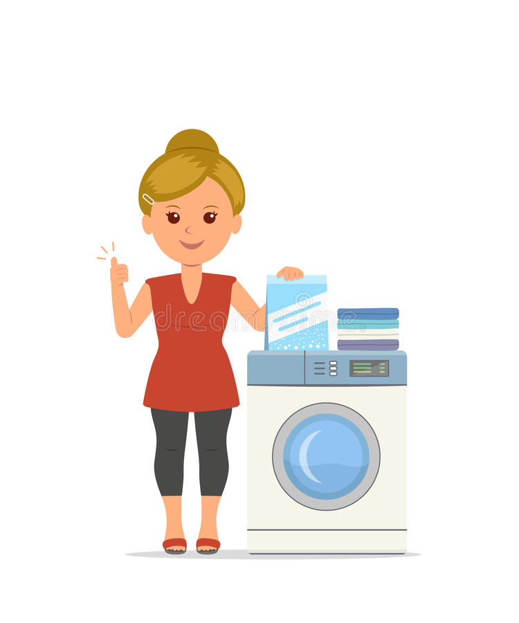 Η διανυσματική νοικοκυρά γυναικών κινούμενων σχεδίων πλένει τα ενδύματα στο πλυντήριο απεικόνιση αποθεμάτων