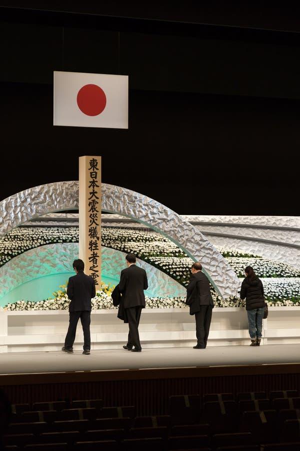 Η Ιαπωνία θυμάται τα θύματα του τσουνάμι. στοκ εικόνες