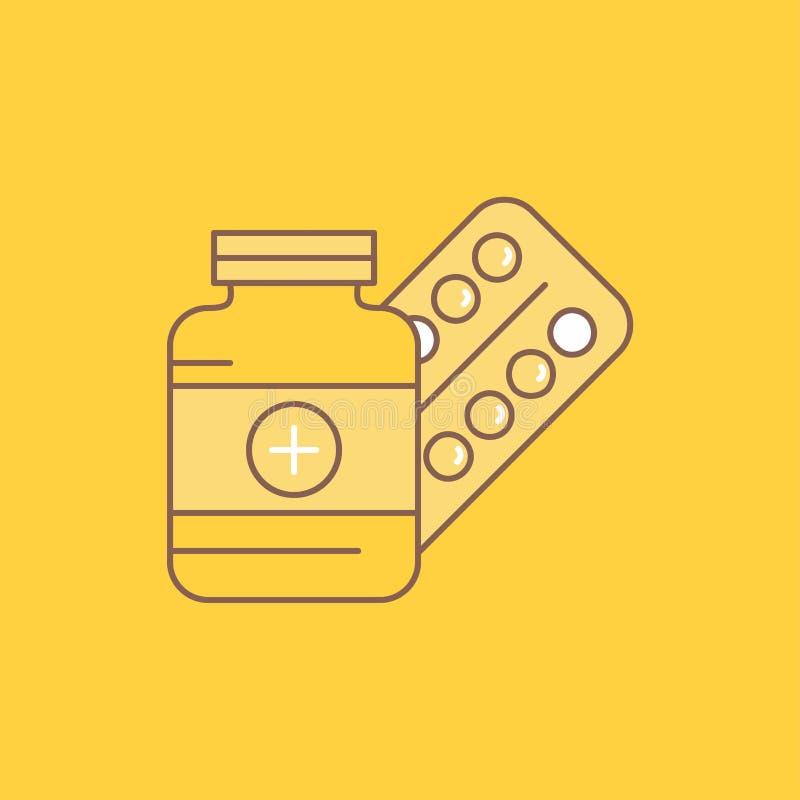 η ιατρική, χάπι, κάψα, φάρμακα, επίπεδη γραμμή ταμπλετών γέμισε το εικονίδιο Όμορφο κουμπί λογότυπων πέρα από το κίτρινο υπόβαθρο απεικόνιση αποθεμάτων