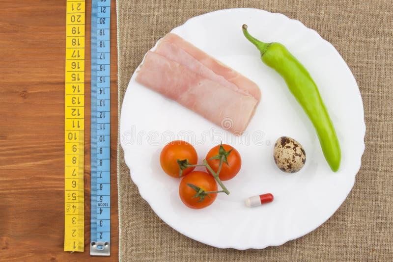 Η διατροφή για την απώλεια βάρους τρόφιμα υγιή Πρόγευμα για τους αθλητές Ζαμπόν, ντομάτες, πιπέρι και αυγά ορτυκιών στοκ φωτογραφία με δικαίωμα ελεύθερης χρήσης