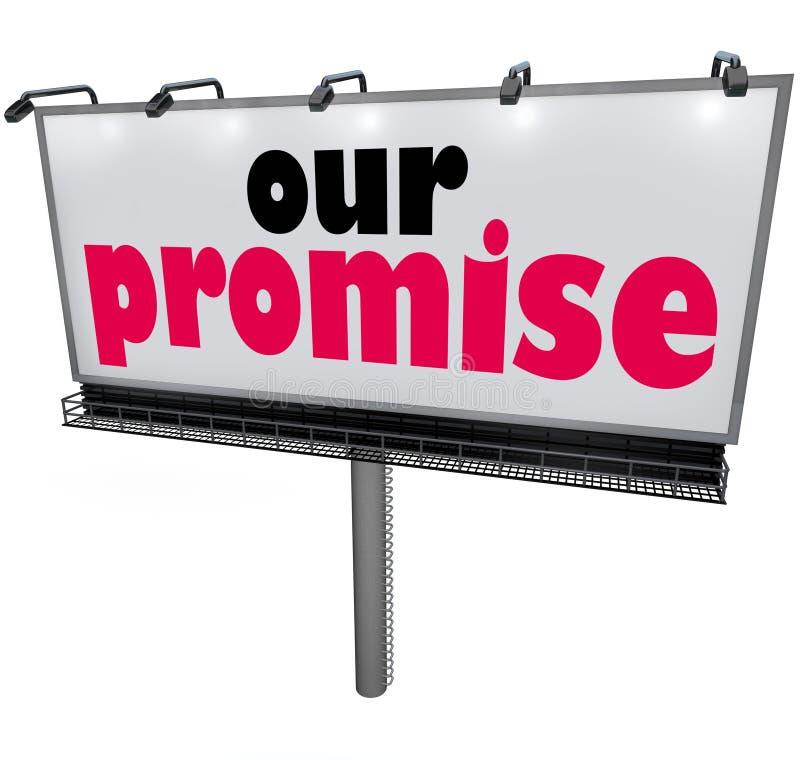 Η διαφημιστική υπηρεσία όρκου εγγύησης μηνυμάτων πινάκων διαφημίσεων υπόσχεσής μας διανυσματική απεικόνιση