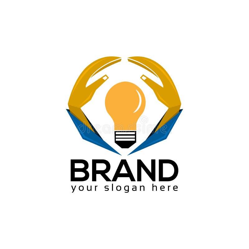 Η ιδέα προστατεύει το πρότυπο λογότυπων, το χέρι και το εικονίδιο λαμπτήρων απεικόνιση αποθεμάτων