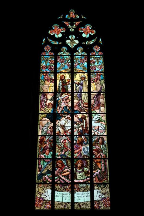 Η ιερή οικογένεια Λεκιασμένο παράθυρο γυαλιού τέχνης Nouveau στοκ φωτογραφίες με δικαίωμα ελεύθερης χρήσης