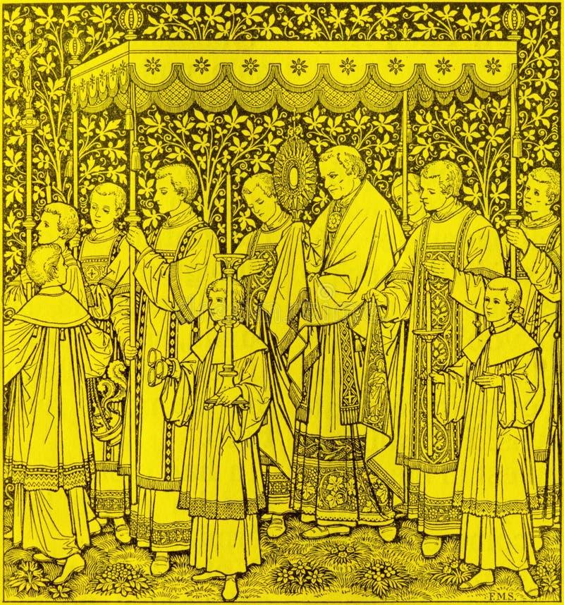 Η λιθογραφία της γιορτής του πιό ιερών σώματος και του αίματος της πομπής Χριστού από τον άγνωστο καλλιτέχνη Φ Μ S 1889 στοκ φωτογραφία με δικαίωμα ελεύθερης χρήσης