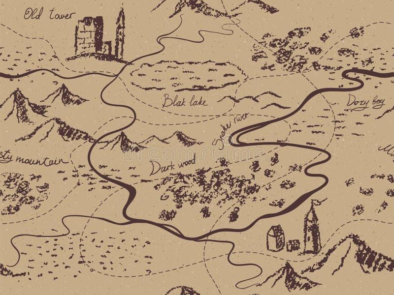 Ηλικίας εκλεκτής ποιότητας άνευ ραφής χάρτης φαντασίας με τα βουνά, κτήρια, δέντρα, λόφοι, ποταμός ελεύθερη απεικόνιση δικαιώματος