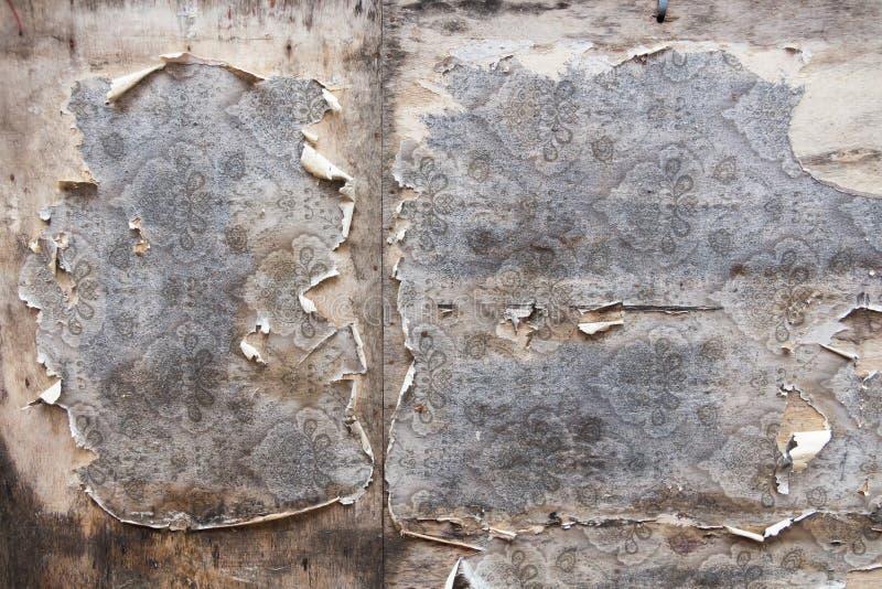 Ηλικίας υπόβαθρο τοίχων δωματίων με τη σχισμένη εκλεκτής ποιότητας ταπετσαρία στοκ εικόνες με δικαίωμα ελεύθερης χρήσης