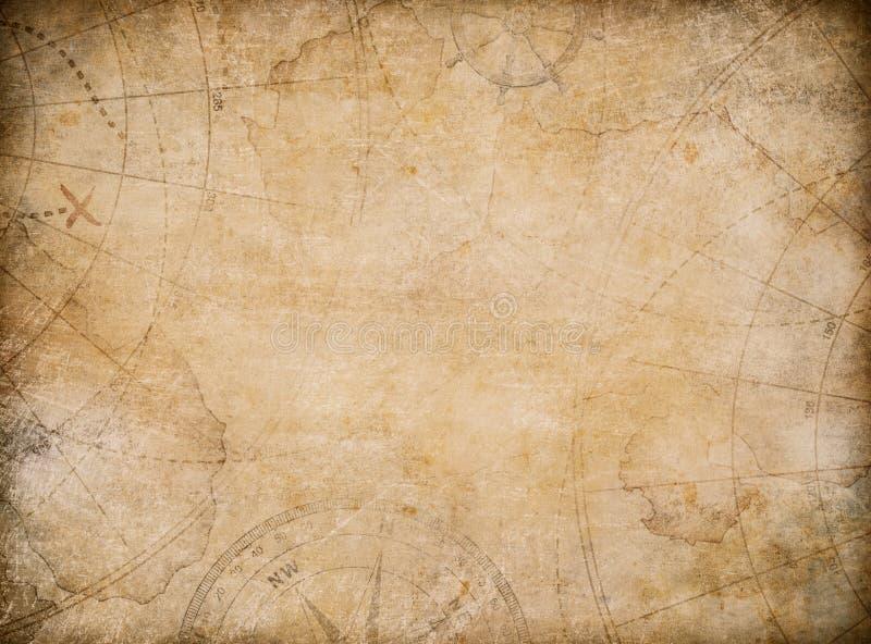 Ηλικίας υπόβαθρο χαρτών θησαυρών με την πυξίδα απεικόνιση αποθεμάτων