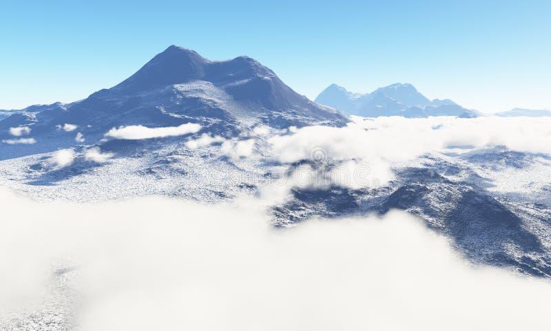 Ηλικία πάγου Παγωμένη χέρσα περιοχή των σύννεφων στον ουρανό διανυσματική απεικόνιση