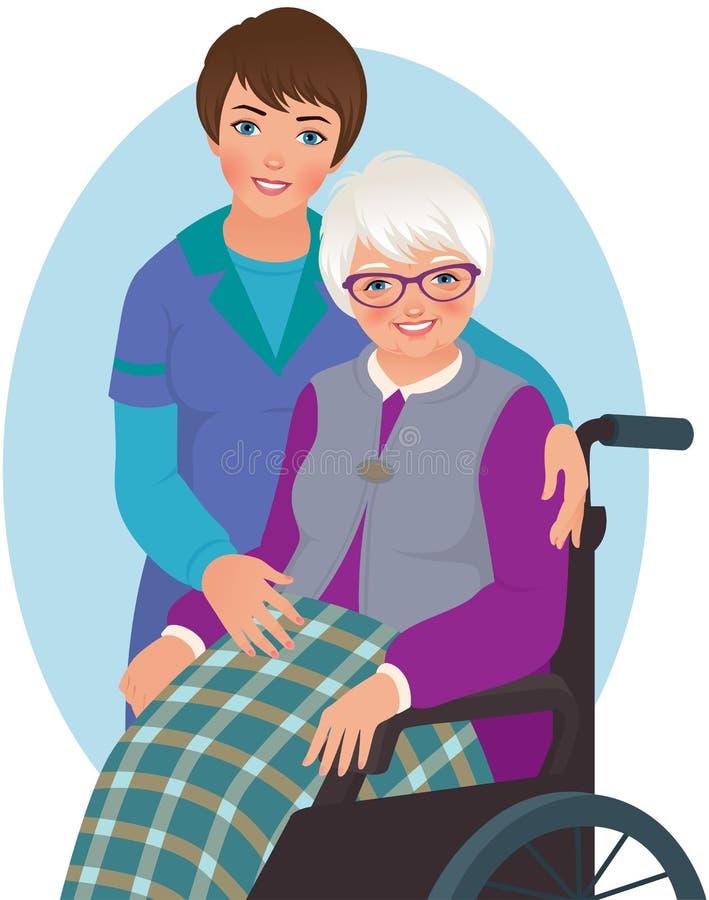 Ηλικιωμένες γυναίκα και νοσοκόμα ελεύθερη απεικόνιση δικαιώματος