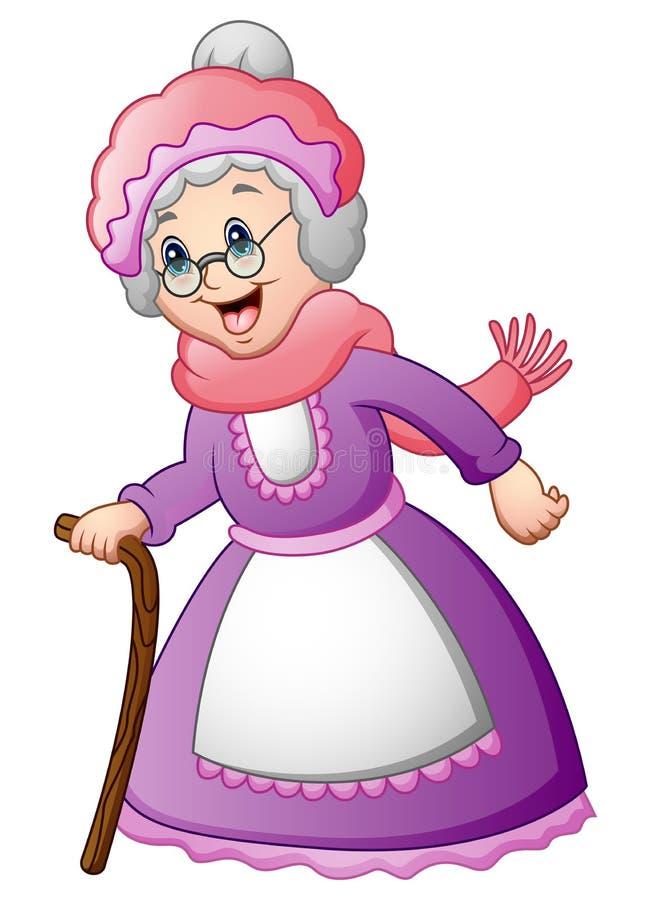 Ηλικιωμένη γυναίκα με το περπάτημα ενός ραβδιού διανυσματική απεικόνιση