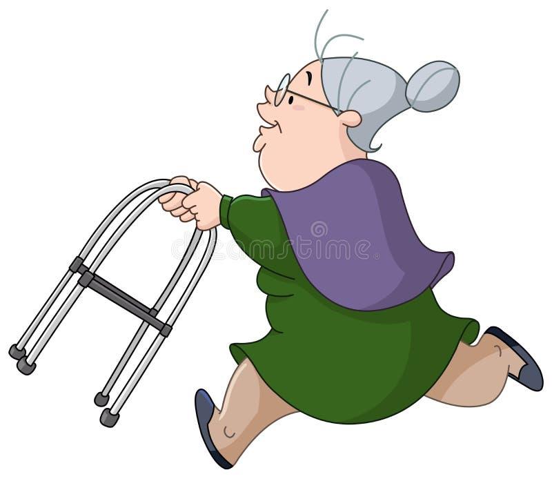 Ηλικιωμένη γυναίκα που τρέχει με τον περιπατητή διανυσματική απεικόνιση