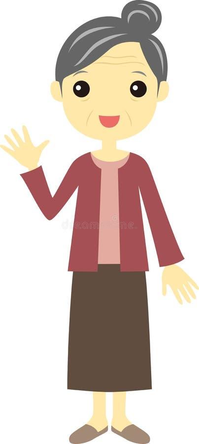 Ηλικιωμένη γυναίκα, πρεσβύτερος απεικόνιση αποθεμάτων