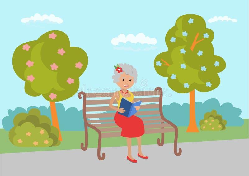 Ηλικιωμένη συνεδρίαση γυναικών στον πάγκο πάρκων και το βιβλίο ανάγνωσης διανυσματική απεικόνιση