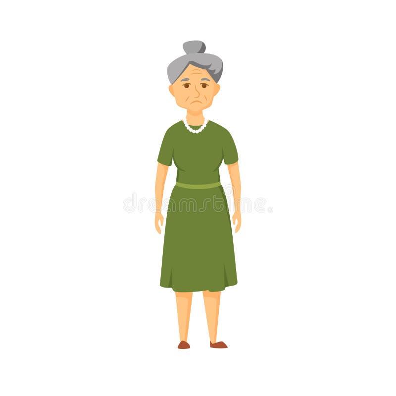 ηλικιωμένη λυπημένη γυναίκ διανυσματική απεικόνιση