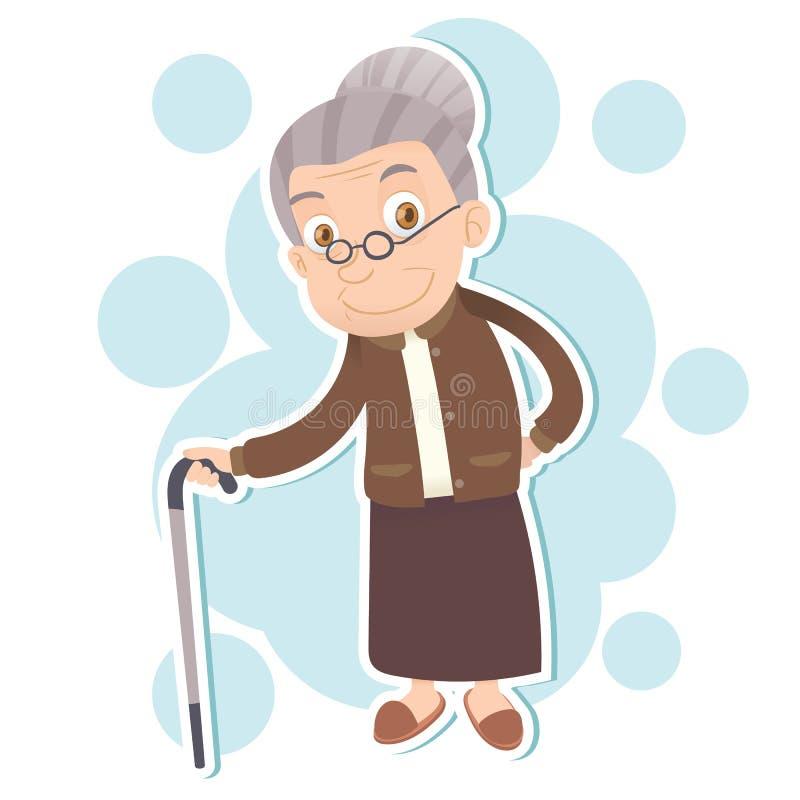 ηλικιωμένη χαμογελώντας & απεικόνιση αποθεμάτων