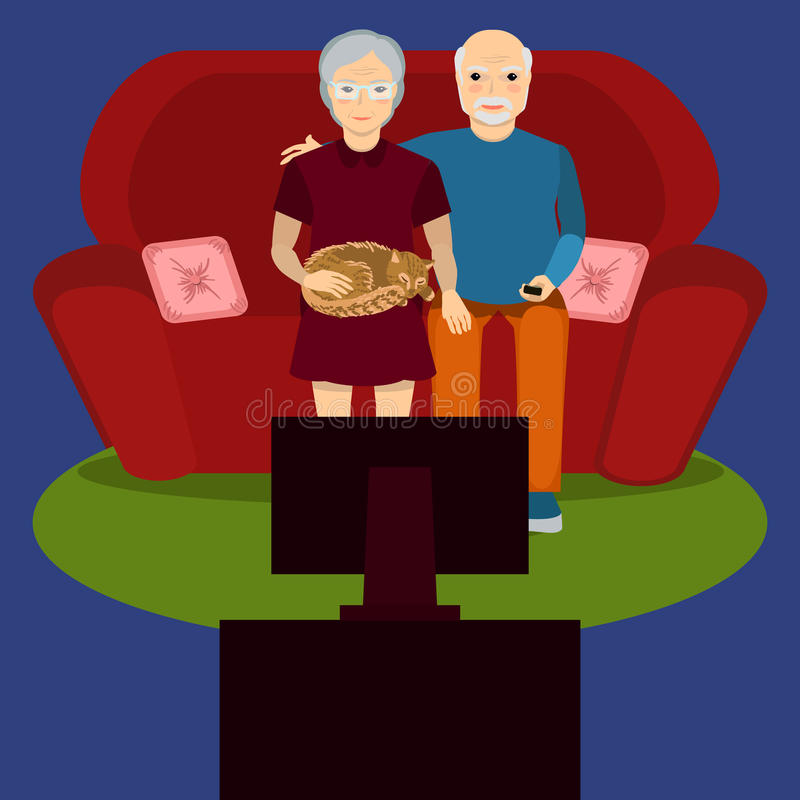 Ηλικιωμένη TV ρολογιών ζευγών διανυσματική απεικόνιση