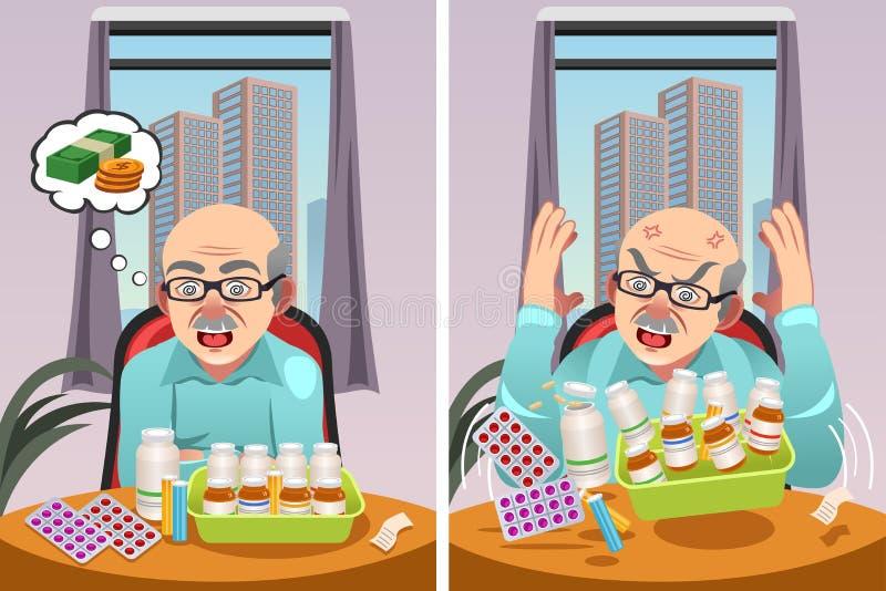 Ηλικιωμένο άτομο με κόστος των ιατρικών συνταγών του ελεύθερη απεικόνιση δικαιώματος