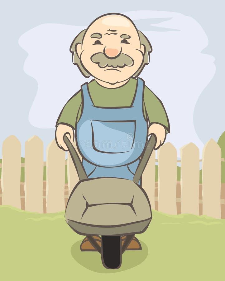 Ηλικιωμένο άτομο με μια χειράμαξα στο υπόβαθρο του αγροτικού τοπίου απεικόνιση αποθεμάτων