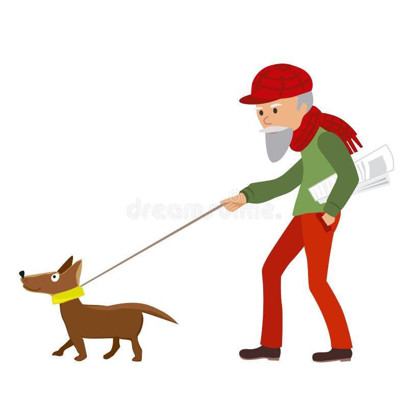 Ηλικιωμένο άτομο που περπατά με το σκυλί του επίσης corel σύρετε το διάνυσμα απεικόνισης απεικόνιση αποθεμάτων