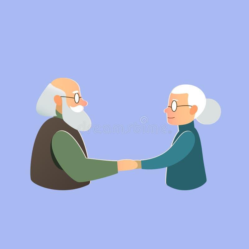 Ηλικιωμένο ζεύγος, ημέρα του βαλεντίνου, αγάπη και γάμος διανυσματική απεικόνιση
