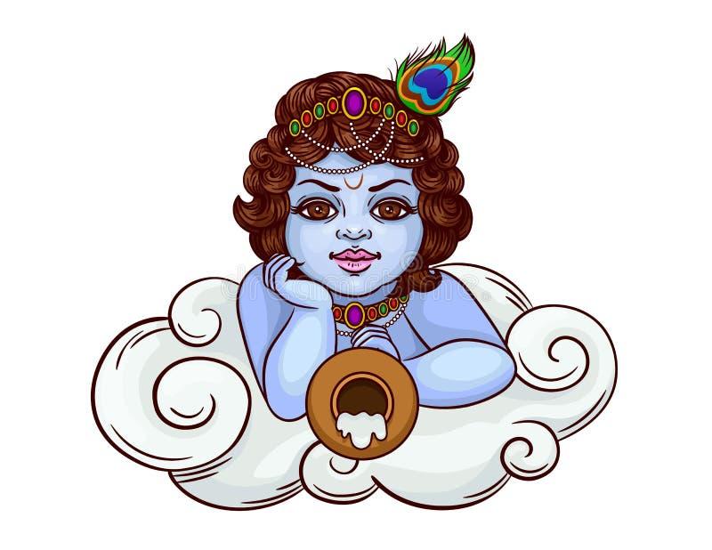 Η ινδική θεότητα είναι krishna στην εικόνα ενός μικρού αγοριού διανυσματική απεικόνιση