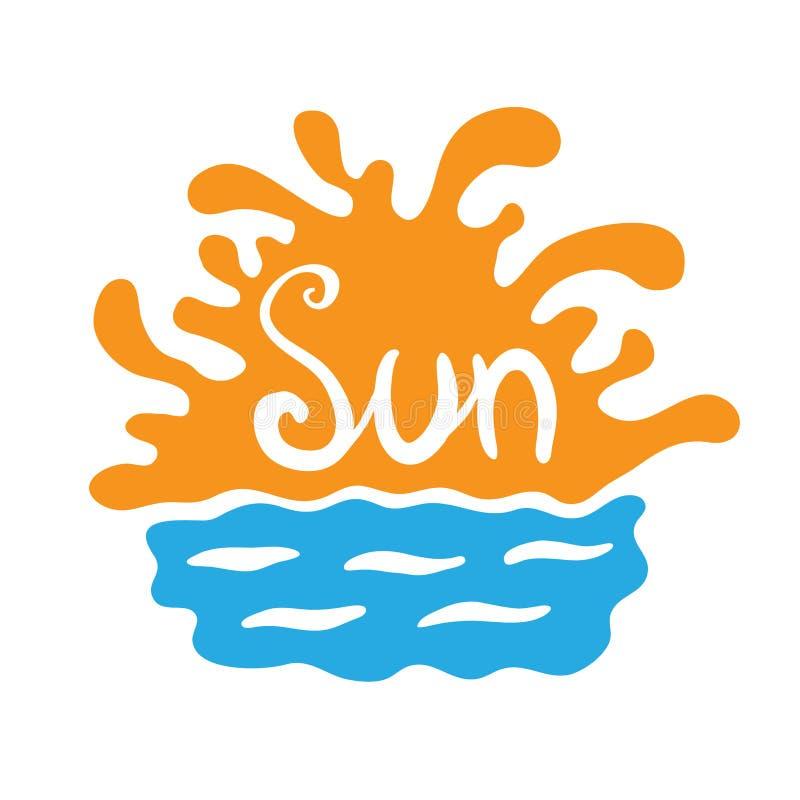 Ηλιοβασίλεμα ή ανατολή πέρα από το νερό, διανυσματικό λογότυπο διανυσματική απεικόνιση