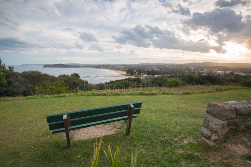 Ηλιοβασίλεμα ακρωτηρίων κοιλάδων της Mona, κοιλάδα της Mona, NSW, Αυστραλία στοκ εικόνα