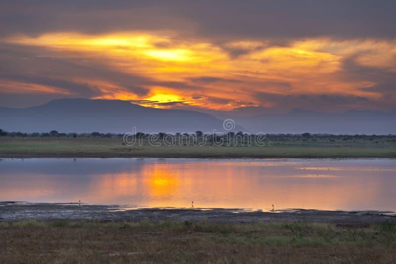 Ηλιοβασίλεμα ανατολικών λιμνών Tsavo στοκ φωτογραφία με δικαίωμα ελεύθερης χρήσης