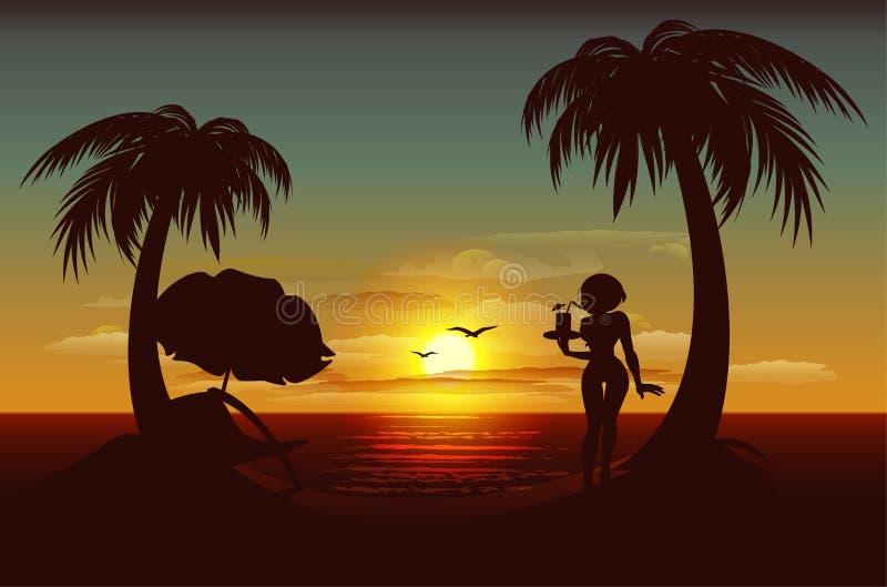 Ηλιοβασίλεμα βραδιού στο τροπικό νησί Θάλασσα, φοίνικες, σκιαγραφία του κοριτσιού με το ποτό απεικόνιση αποθεμάτων