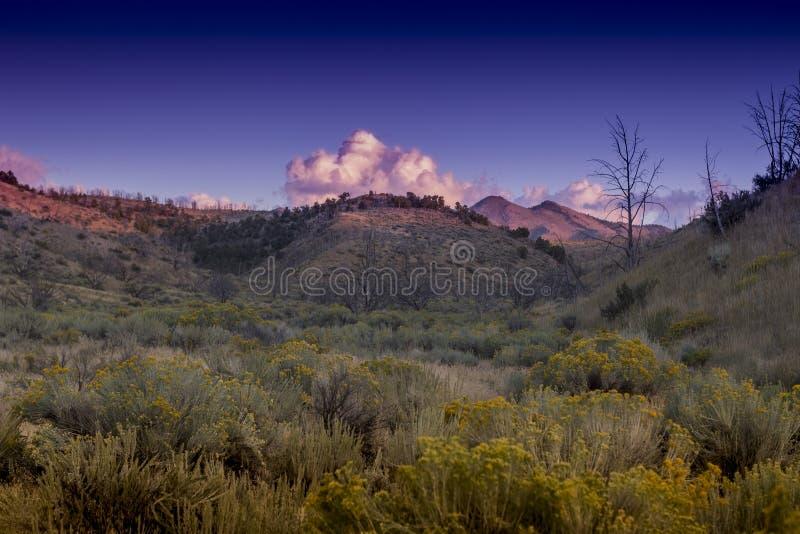 Ηλιοβασίλεμα ερήμων βουνών τοπίου της Νεβάδας στοκ εικόνα με δικαίωμα ελεύθερης χρήσης