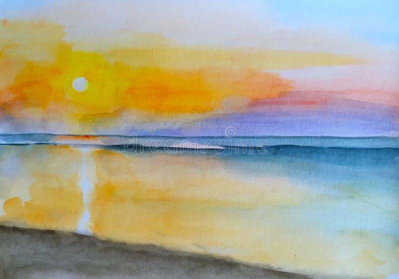 Ηλιοβασίλεμα ζωγραφικής Watercolor στο ζωγραφισμένο στο χέρι τοπίο παραλιών διανυσματική απεικόνιση