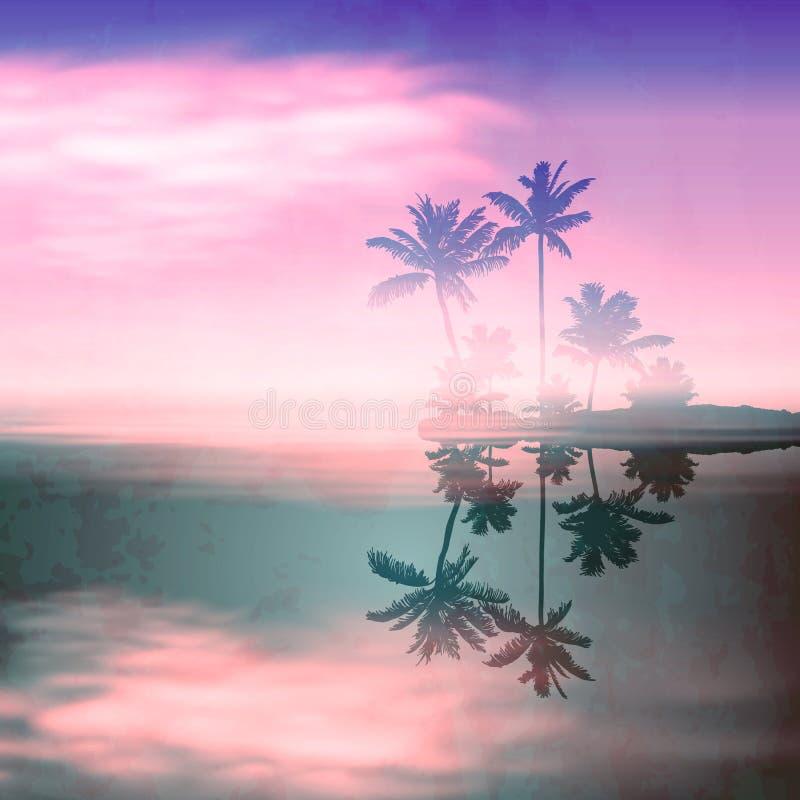 Ηλιοβασίλεμα θάλασσας με το νησί. Αναδρομικό ύφος. διανυσματική απεικόνιση