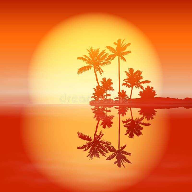 Ηλιοβασίλεμα θάλασσας με το νησί και τους φοίνικες. απεικόνιση αποθεμάτων