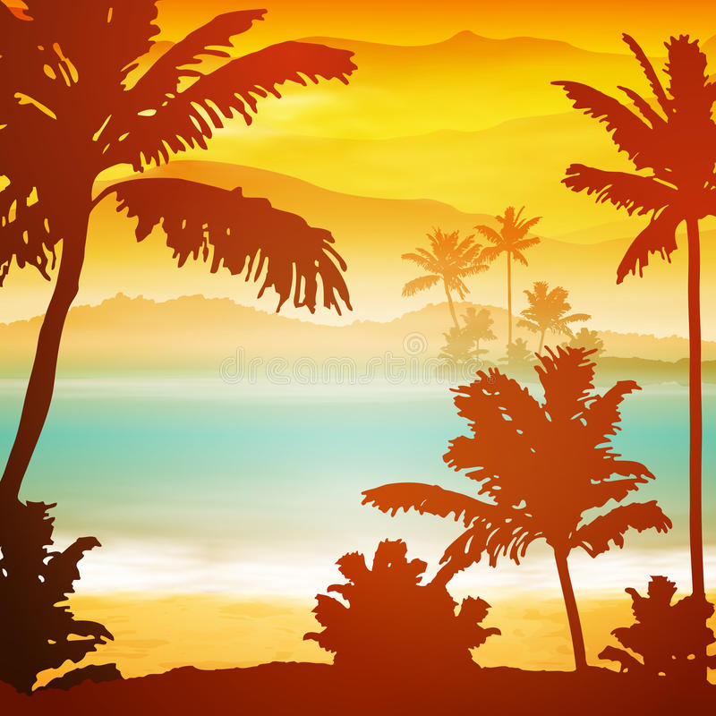 Ηλιοβασίλεμα θάλασσας με το νησί και τους φοίνικες απεικόνιση αποθεμάτων