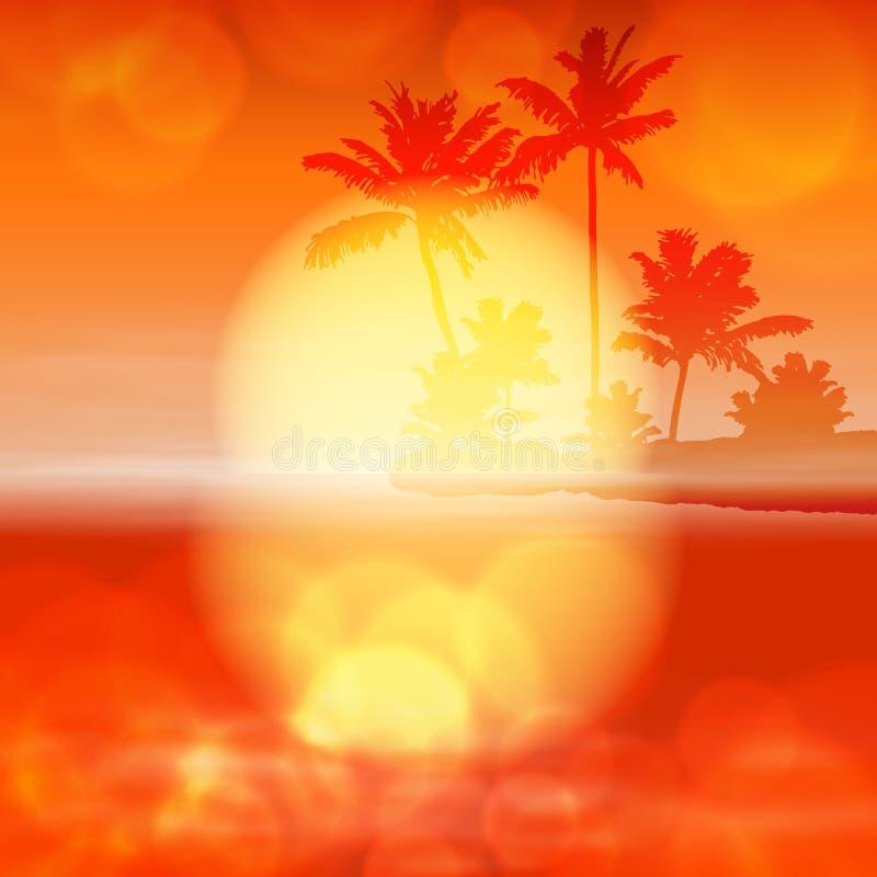 Ηλιοβασίλεμα θάλασσας με το φοίνικα και φως στο φακό ελεύθερη απεικόνιση δικαιώματος