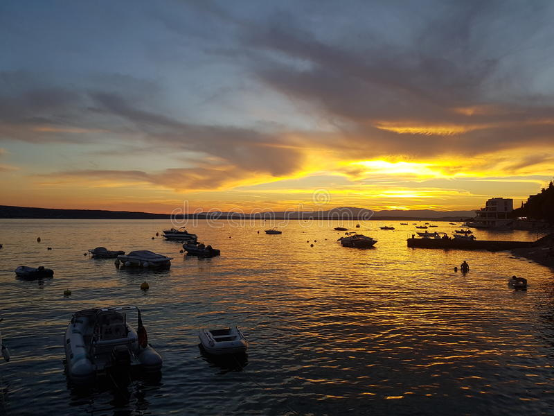 Ηλιοβασίλεμα - θάλασσα στοκ φωτογραφία