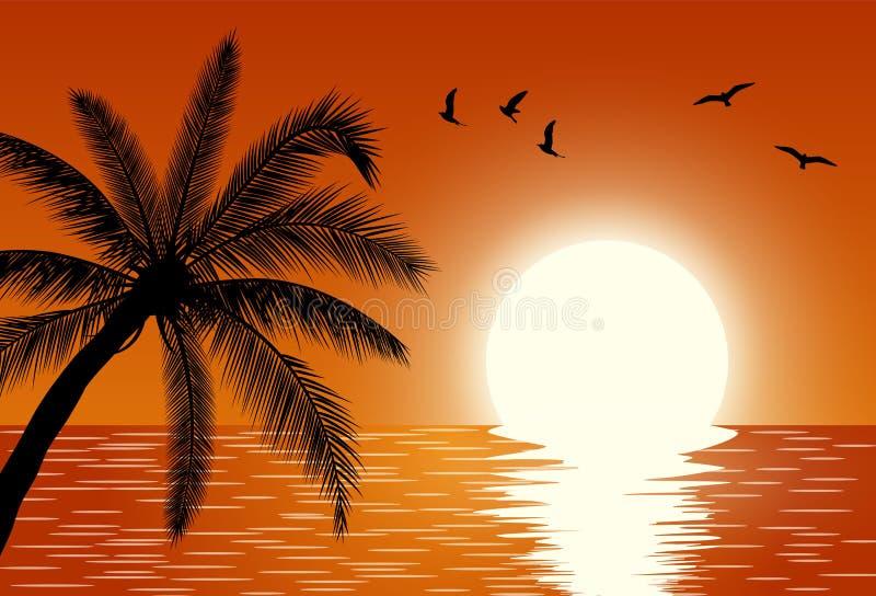 Ηλιοβασίλεμα θερινό ηλιοβασίλεμα ουρανού τοπίων πεδίων σύννεφων σκοτεινό διανυσματική απεικόνιση