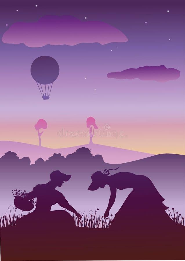 Ηλιοβασίλεμα με δύο γυναίκες διανυσματική απεικόνιση
