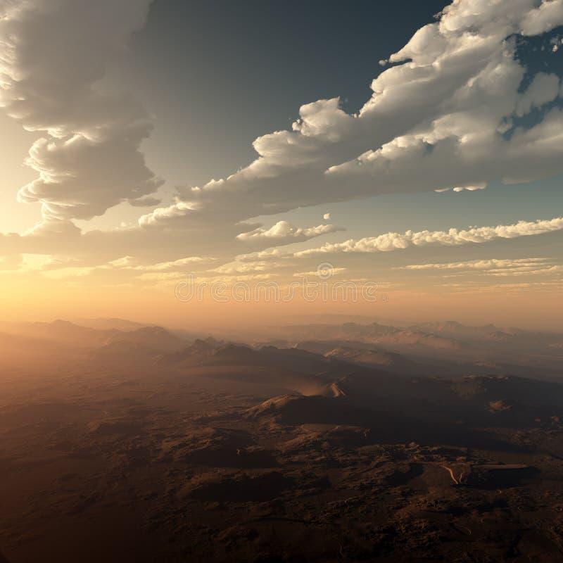 Ηλιοβασίλεμα νεφελωδών και ερήμων της Misty ελεύθερη απεικόνιση δικαιώματος