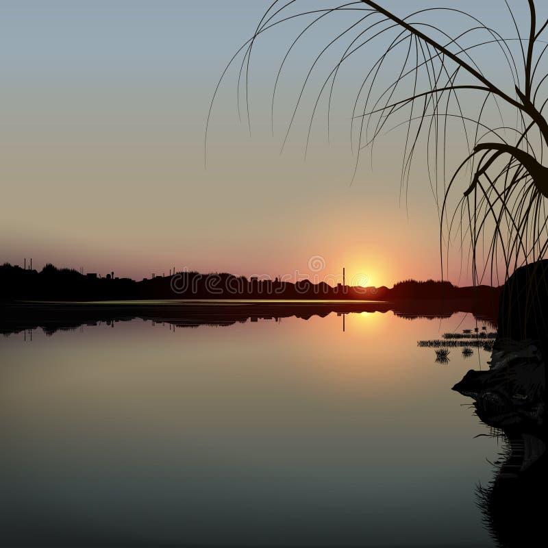 Ηλιοβασίλεμα πέρα από μια λίμνη φθινοπώρου απεικόνιση αποθεμάτων