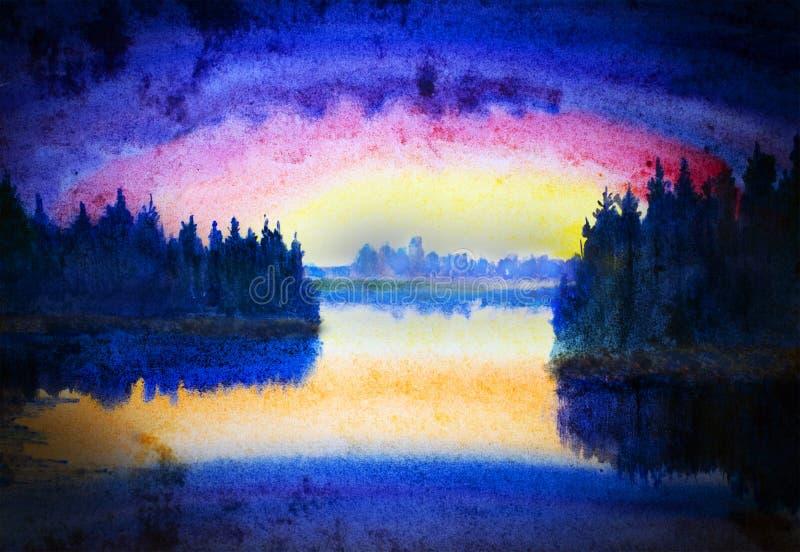 Ηλιοβασίλεμα πέρα από τη λίμνη ελεύθερη απεικόνιση δικαιώματος