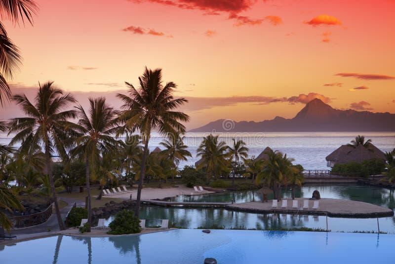 Ηλιοβασίλεμα πέρα από τη θάλασσα και τα βουνά, Ταϊτή στοκ εικόνα με δικαίωμα ελεύθερης χρήσης