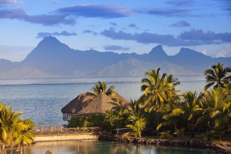 Ηλιοβασίλεμα πέρα από τη θάλασσα και τα βουνά, Ταϊτή στοκ φωτογραφία με δικαίωμα ελεύθερης χρήσης